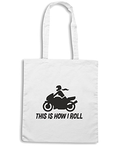 T-Shirtshock - Borsa Shopping TB0107 this is how i roll Bianco