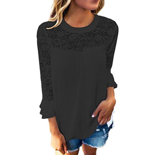 DOLDOA Damen 3/4 Ärmel Frill Tops Damen Stickerei Spitze Shirt Bluse Shirt (Größe: 46 Fehlschlag: 104cm / 40.9