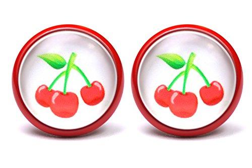 LA FABA Kirschen Ohrstecker rot Ohrringe Rockabilly Schmuck Accessoires in rot weiß 14 mm Durchmesser für Damen und Mädchen im Geschenk Etui, Schachtel (K - rot)