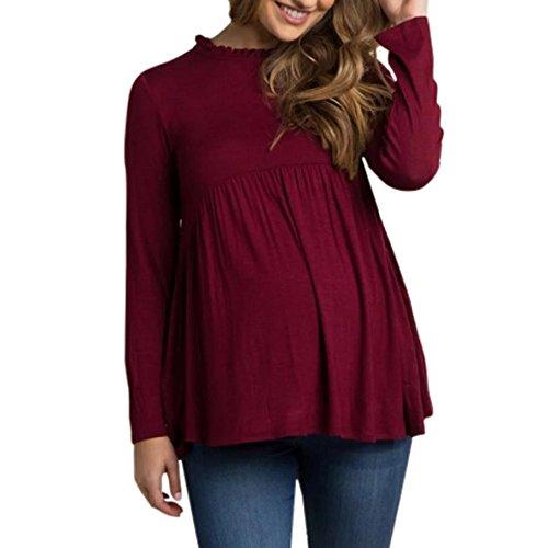 Logobeing Mujer Ropa,Bebé para La Camiseta de Maternidad Mujeres Embarazadas Tops,Informal T-Shirt (XL, Vino)