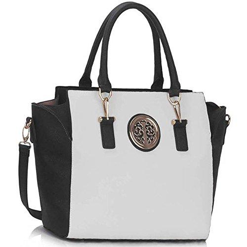 TrendStar Trendstar Damenhandtaschen Der Frauen Schulterbeutel Designer Neue Promi Stil Trage Groß (Lila Trage Bag1) Schwarz/Weiß3