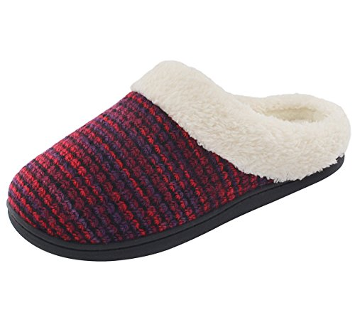 HomeTop Women's Indoor Outdoor Knitted Furry Plush Slip On Memory Foam Clog...