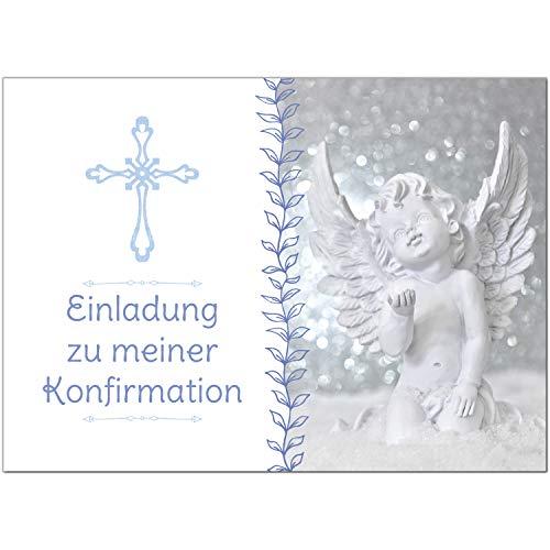 15 x Einladungskarten zur Konfirmation mit Umschlägen/Engel mit Kreuz, blau/Konfirmationskarten/Einladungen zur Feier
