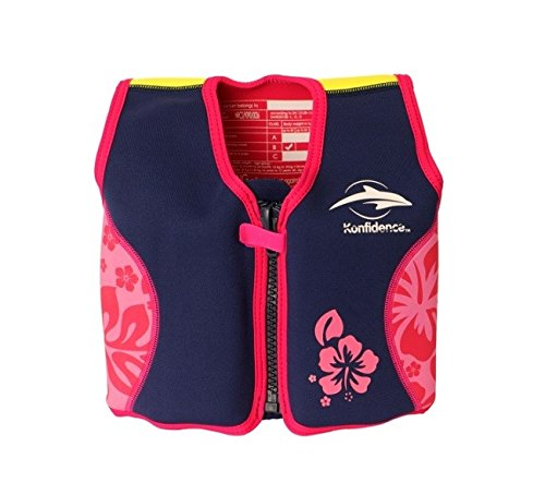 The Original Konfidence Jacket I Neopren Schwimmjacke ideal für Kinder I inkl. Baumwoll-Windel, Größe:18Mon-3Jahre, Design:pink/hibiscus