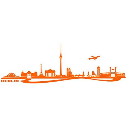"""Wandkings Wandtattoo \""""Skyline Berlin (mit Sehenswürdigkeiten und Wahrzeichen der Stadt)\"""" 200 x 64 cm orange - erhältlich in 33 Farben"""