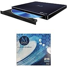 LG 6x wp50nb40Ultra Slim Portable Grabadora de Blu-ray paquete con 1paquete M-Disc BD–Soporta M-Disc y BDXL discos, Mac OS X compatible (negro, al por menor)
