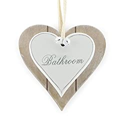Lesser & Pavey Shabby Chic Wooden Signs for Bathroom - Perfect Hanging White Heart for Home Bathroom  Door Accessoies