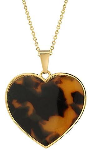 Gnzoe Schmuck Damen Schmuck-Sets 18K Weiß Vergoldet mit Braun Liebe Herz Anhänger Halskette Ketten & Damenohrstecker Ohrstecker (Amethyst Hängende Uhr)
