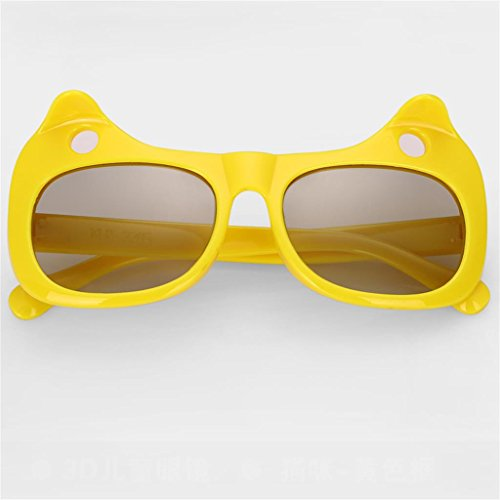 XF Sonnenbrillen Sonnenbrillen - polarisiert, Kinder, kein Blitz, Stereo 3D, Filme, 3D-TV Universal, 5-10 Jahre alt, Größe: 125x55mm Brillen & Zubehör (Farbe : Gelb)