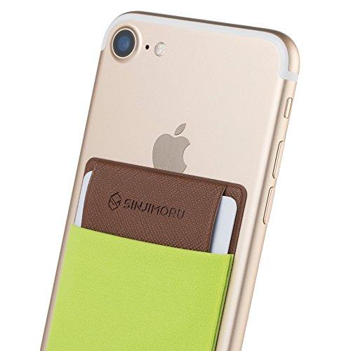 Smartphone Kartenhalter mit Clip, SINJIMORU Smart Wallet Kartenfach mit Verschluss-Clip / aufklebbare Mini Geldbörse mit Zugband für iPhones und Androids. Sinji Pouch Flap, Beige. Grün