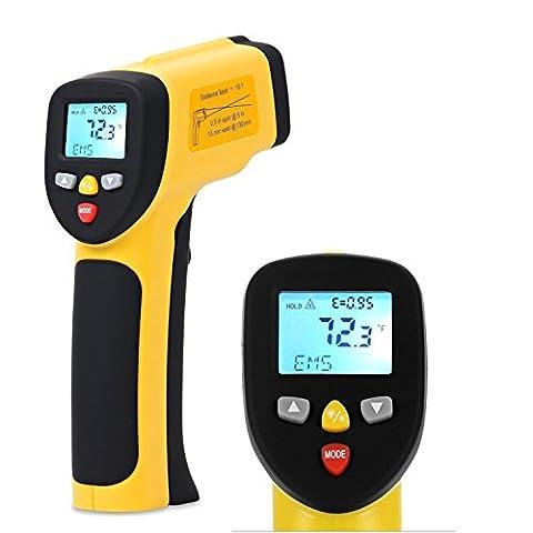 Dr.Meter IR-40 Thermomètre infrarouge Laser double, -50°C ~ 650 °C / -58º F ~ 1 202º F, La Pile 9V compris, Jaune