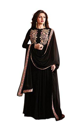 Ethnic Fashons BLACK COLOR LATEST INDIAN DESIGNER ANARKALI SALWAR KAMEEZ DRESS TOP-SEMI-STITCHED...
