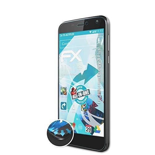 atFolix Schutzfolie passend für Phicomm Energy 3 Plus Folie, ultraklare & Flexible FX Bildschirmschutzfolie (3X)
