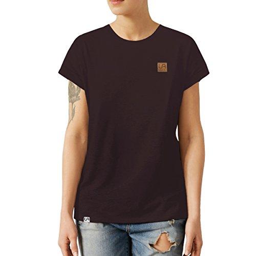 urban air StyleFit | T-Shirt | Damen | Sport, Freizeit | 100% Baumwolle, Leder-Patch, Rundhals-Ausschnitt, Kurzarm | Schwarz | XL | Loose Fit, Leicht Tailliert