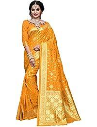 Aarti Apparels Women's Designer Banarasi Silk Saree_Yellow_THNCS-1007
