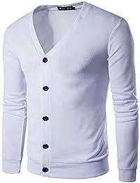 COCO clothing Herren Herbst-Winter Einfarbig Freizeit Cardigan Sweater  Lange Ärmel Warm Sweatshirt Männer Stretch Strickmantel Pullover… fa5cc59716
