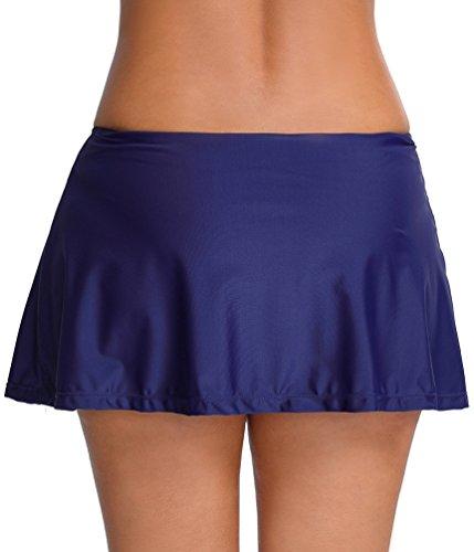 OLIPHEE Damen Baderock mit integrierter innenslip Bikinirock Schwimmen Strandrock Volant Design Dnukelblau