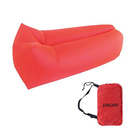Tumbona sofá inflable con bolsa playa tumbona hinchable Air sofá sofá cama piscina flotador para uso en interiores/al aire libre senderismo camping, playa, Parque, Patio trasero impermeable duradero, rojo