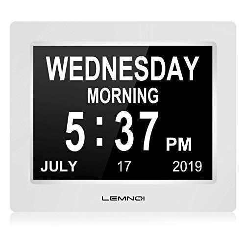 """Lemnoi 7.5"""" Pouce LCD Horloge Numérique Calendrier avec Date Jour Et Heure Horloge Non-Abrégée Auto Dimming 8 Langues HD Display Rappel pour Alzheimer Les Personnes âgées et Les Enfants"""