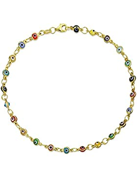 Bling Jewelry Multi Color Vergoldet 925 Silber Evil Eye Fußkettchen 10 Zoll