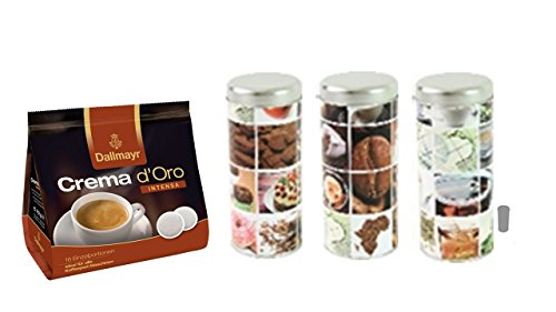 Dallmayr Kaffee Crema d'oro Intensa Kaffeepads + Kaffeepaddose 18 Pads - 3 er Set