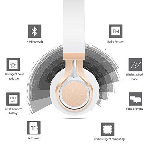 Bluetooth Over-Ear Kopfhörer, EONANT 4 in 1 BT-08 4.0 Bluetooth Wireless Headset Faltbarer Kopfhörer mit Mikrofon mit Mikrofon / FM / TF Karte / AUX für PC TV Smart Phones & Tablets (White-Gold) - 4