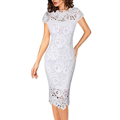 Mode FéMinine Solide O-Cou à Manches Courtes Robe Moulante Robe Fourreau en Dentelle(Blanc,XX-Large)