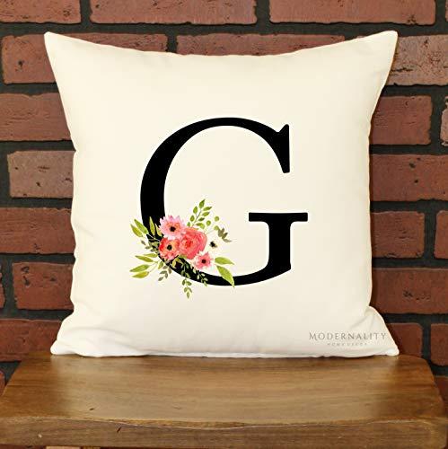 Mike21Browne - Almohada con diseño Floral y Letras Personalizadas, Almohada con Inicial,...