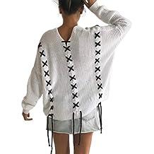 DFGTHRTHRT Escudo de Manga Larga con Cuello en v de Las Mujeres Suelta Suéter de Punto