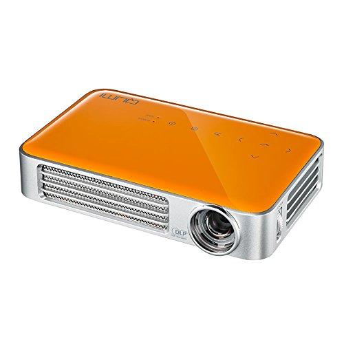vivitek Qumi Q6, kompakter LED-Projektor im Taschenformat, 800 Lumen, Wireless, 1280x800 Pixel, Beamer mit 2.5GB interner Speicher, HDMI und USB Eingang, orange