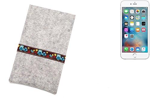 """flat.design Filzhülle """"Lisboa"""" für Apple iPhone 6s Plus - passgenaue Handytasche aus 100% Wollfilz (anthrazit) - made in Germany Schutz Case für Apple iPhone 6s Plus Eulen - hellgrau"""