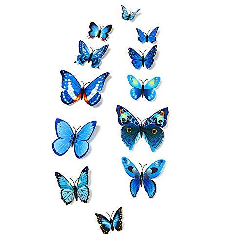 48 pegatinas de pared con diseño de mariposas en 3D