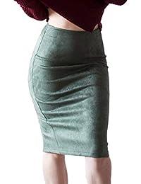 Hongxin Femme Jupes Faux Suède Package Hanche Fendu Taille Haute Jupe Faux  Daim Souple Slim Clubwear Classique Mi-Longue Crayon… e490c537b476