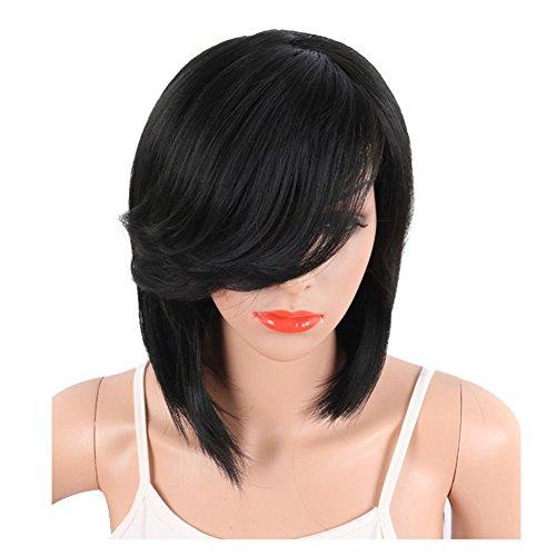Xiaoli& parrucca africani neri divisione parziale capelli corti, lunghi e lisci frangia obliqua capelli in fibra chimica nero copricapo