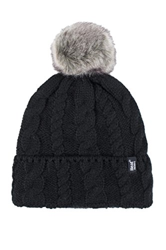 Ladies 1 Pack Heat Holders Heat Weaver Cable Knit Pom Pom Hat