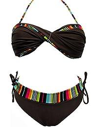 Maillot de bain femme 2 pièces deux femme bikini marron et multicolore plusieurs tailles