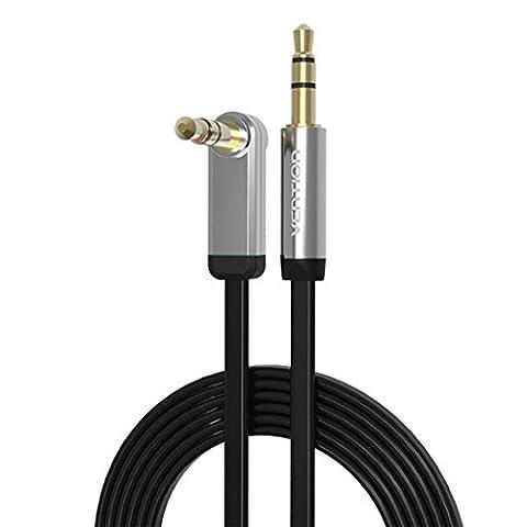 Audio Câble, VENTION Audio Câble 3.5mm Jack Audio Stéréo Auxiliaire Mâle vers Mâle 90 Degrés Plaqué Or, Noir, 1.5M