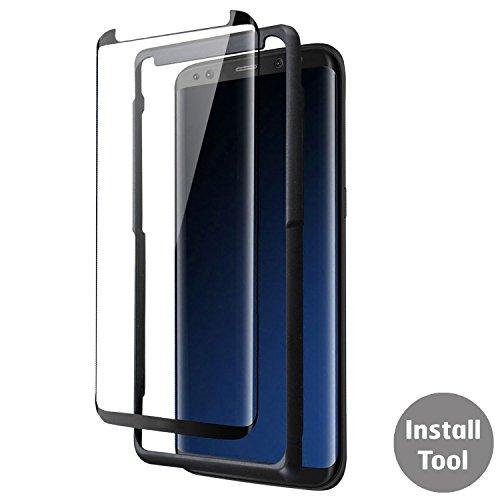 69b6c56d38d Protector de pantalla para Samsung Galaxy S8, bandeja de de vidrio  templado, negra