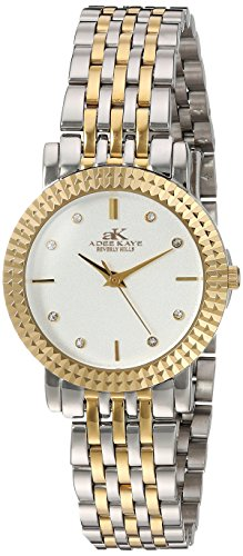 Adee Kaye Women's Quartz Stainless Steel Dress Watch, Color:Two Tone (Model: AK4801-LTTG)