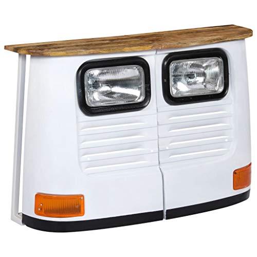 vidaXL Bois de Manguier Massif Buffet Forme de Camion Blanc Commode Bahut