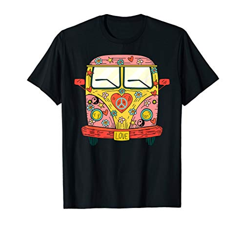 Hippie Kostüm - Peace Love Flower Power Retro Camper Bus T-Shirt (Flower Power Kostüm Damen)