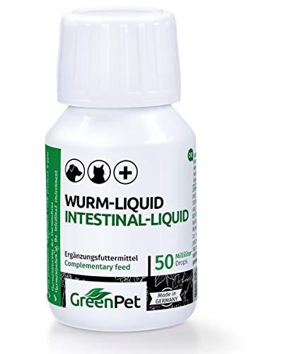 GreenPet 100% natürliches Wurm-Liquid Tropfen Flüssig 50ml - Hunde, Katzen, Geflügel, Vögel, Kaninchen und Haustiere, Vor und bei Wurmbefall, 1-2 Jahre Vorrat