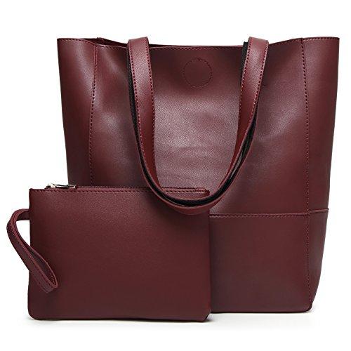 DCCN Damen Handtaschen Shopper PU Leder Messenger Bags Einkaufstasche mit ein klein Beutel Geldbörse (Kleiner Shopper)