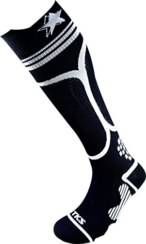 TKS COMPRESION CALCETIN LARGO IBERO 03 NEGRO/BLANCO, PARA RUNNING, TRIATLON, CICLISMO, SENDERISMO, Cross Training, TRX (L(43-45))