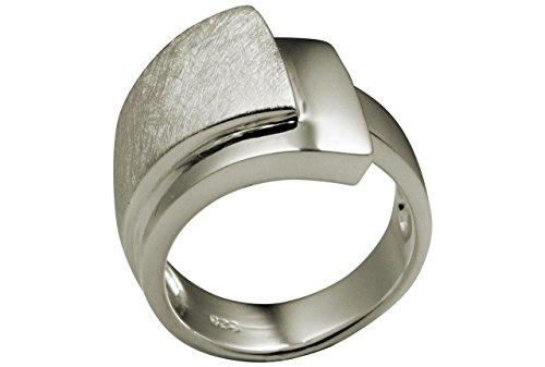 SILBERMOOS XL XXL Ringe in großen Größen Eleganter Damen Ring doppelter Bandring gebürstet glänzend breit 925 Sterling Silber Größen 64, 66, 68, 70, Größe:66 (21.0)