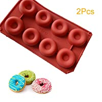 2Pcs Donut Pan, 8 Cavity Donut Silicone Baking Pan Mold, Non-stick Doughnut Pans, BPA-free, Kitchen Accessories Easy to Clean, for Baking