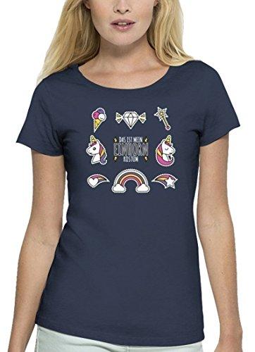 Fasching Karneval Premium Damen T-Shirt Bio Baumwolle Das ist mein Einhorn Kostüm 1 Stanley Stella Navy