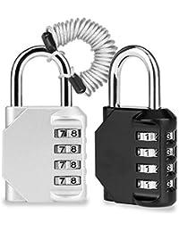 Candado Combinacion, Domserv 2 Pack 4 Dígitos Candado de Seguridad Combinaciones con Cuerda de Alambre Retráctil, para Equipaje, Maletín Deportivo, Mochila, Archivadores