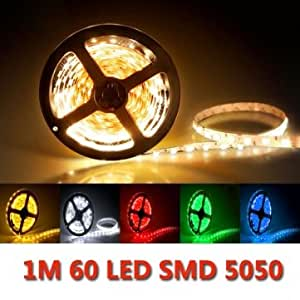 1M 60LED SMD 5050 Drop Rubber LED Strip Lights Waterproof IP65 DC 24V # Color--Yellow