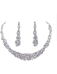 Jewel Queen Silver Plated Crystal Necklace Set For Women